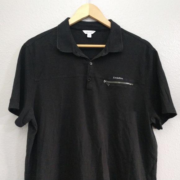 Calvin Klein Other - Calvin Klein Large Black Short Sleeve Zipper Shirt